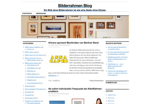 Screenshot Bilderrahmen Blog