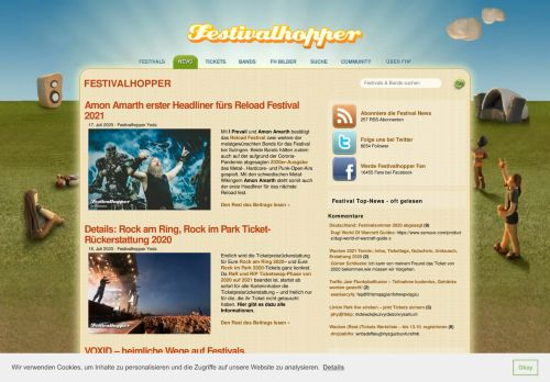 Screenshot Festivalhopper News für Festivals