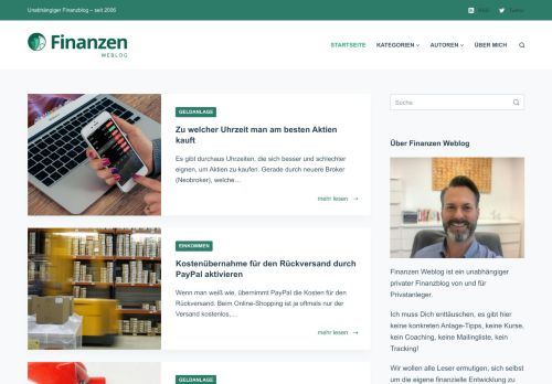 Screenshot Finanzen Weblog