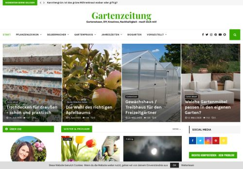 Screenshot Gartenzeitung - das Portal rund um den Garten