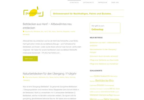 Screenshot Informations- Blog für Bio Bettdecken , Matratzen,