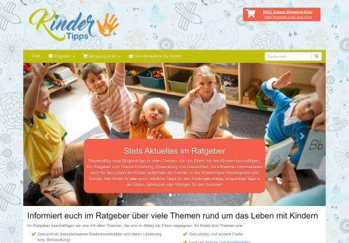 Screenshot Kinder Tipps - Blog für Eltern und Kinder