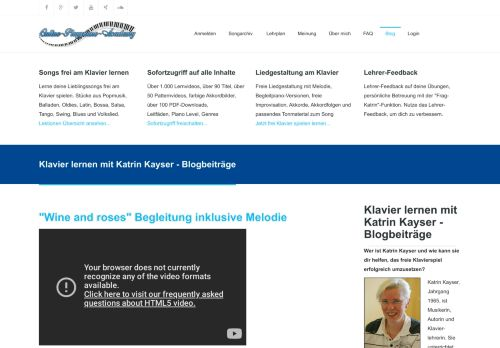 Screenshot Klavier lernen im Playpiano Blog