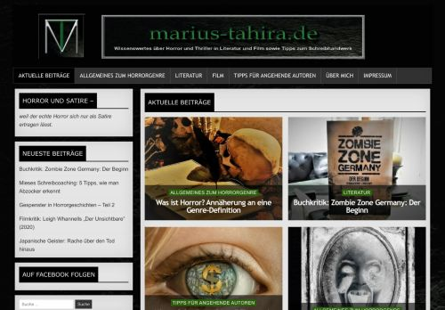 Screenshot Marius Tahira - Der Horror-Blog