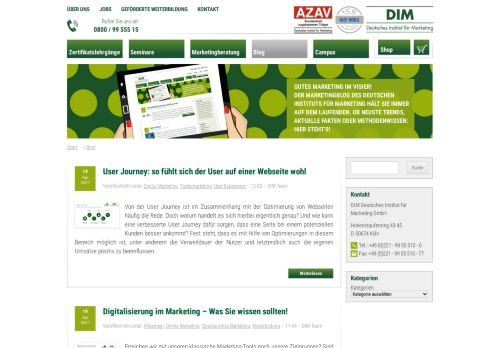 Screenshot Marketing Blog DIM