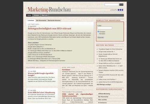 Screenshot Marketing-Rundschau