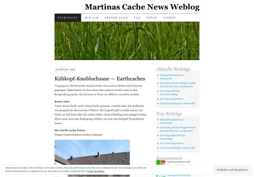 Screenshot Martinas Cache News Weblog