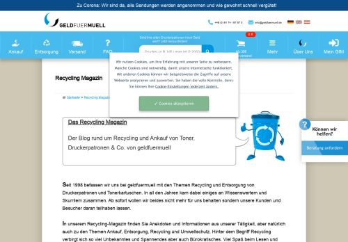 Screenshot Recycling Magazin