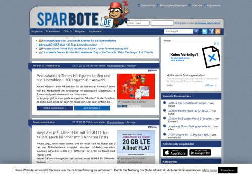 Screenshot Sparbote - Spars dir einfach