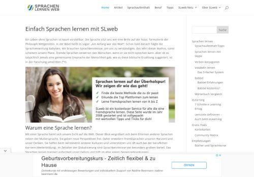 Screenshot Sprachen lernen web
