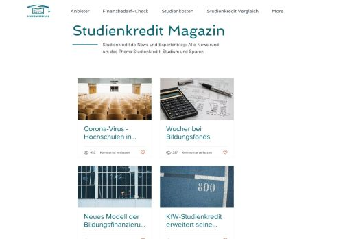 Screenshot Studienkredite