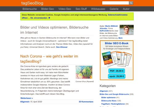 Screenshot tagSeoBlog - Seo, Webdesign und Bildersuche