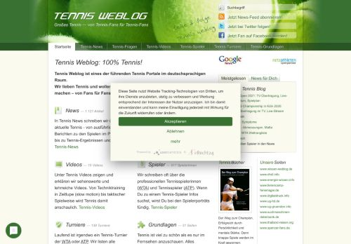 Screenshot Tennis Weblog