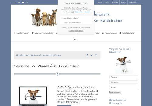 Screenshot Tier-Blog der Fachschulen für Mensch & Hund und C