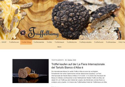 Screenshot Trüffel Blog - Alles über Delikatesse Trüffel