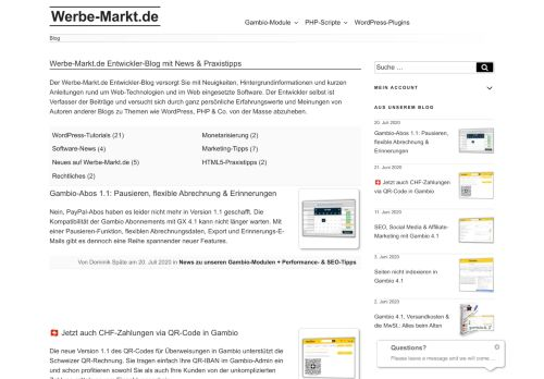 Screenshot Werbe-Markt.de Entwickler-Blog